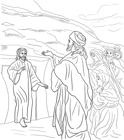 Jesus raised lazarus from the dead clipart banner black and white stock Jesus Raises Lazarus from the Dead coloring page | Free Printable ... banner black and white stock