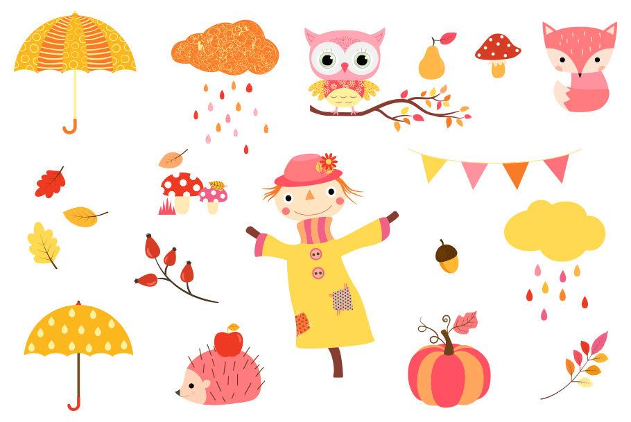 Free kawaii fall clipart. Cute set autumn clip