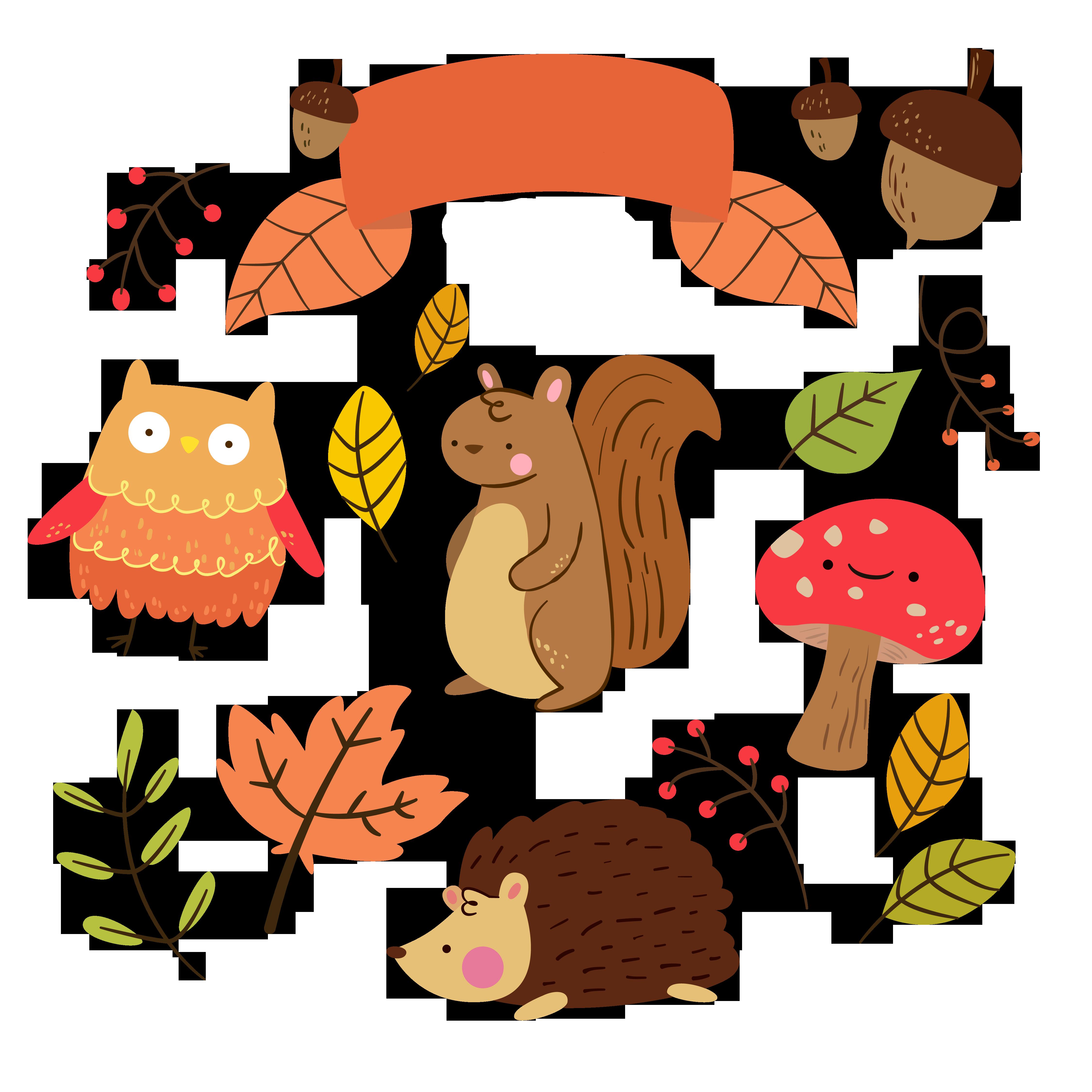 Autumn animal cliparts download. Free kawaii fall clipart