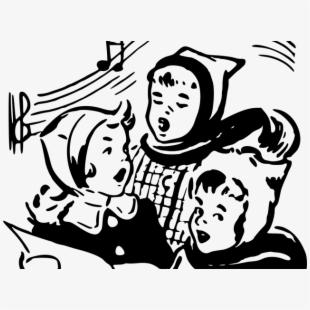 Vector illustration of children. Free kids christmas caroling clipart black and white
