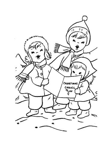 Free kids christmas caroling clipart black and white. Children are singing carols