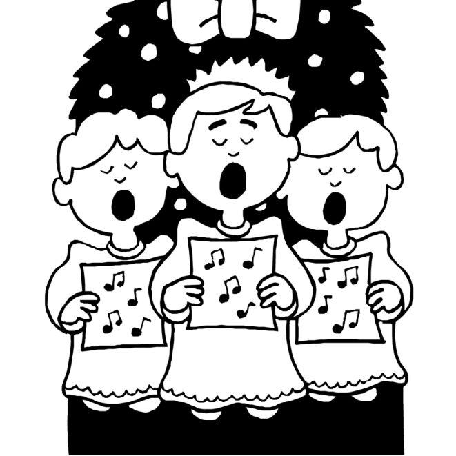 Free kids christmas caroling clipart black and white. Printable coloring pages for
