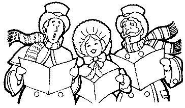 Free kids christmas caroling clipart black and white. Carolers clip art non