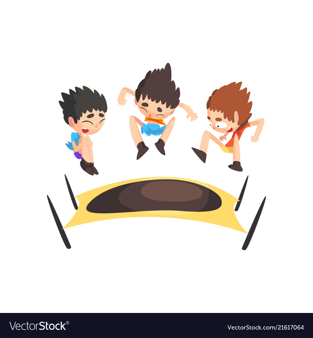 Free kids jumping on tramp and white clipart banner library library Boys jumping on trampoline bouncing kids having banner library library