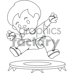 Free kids jumping on tramp and white clipart clip art freeuse library black and white coloring page boy jumping on trampoline vector illustration  clipart. Royalty-free clipart # 405993 clip art freeuse library