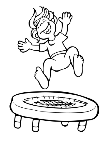 Free kids jumping on tramp and white clipart svg library library Kid Jumping on the Trampoline coloring page   Free Printable ... svg library library