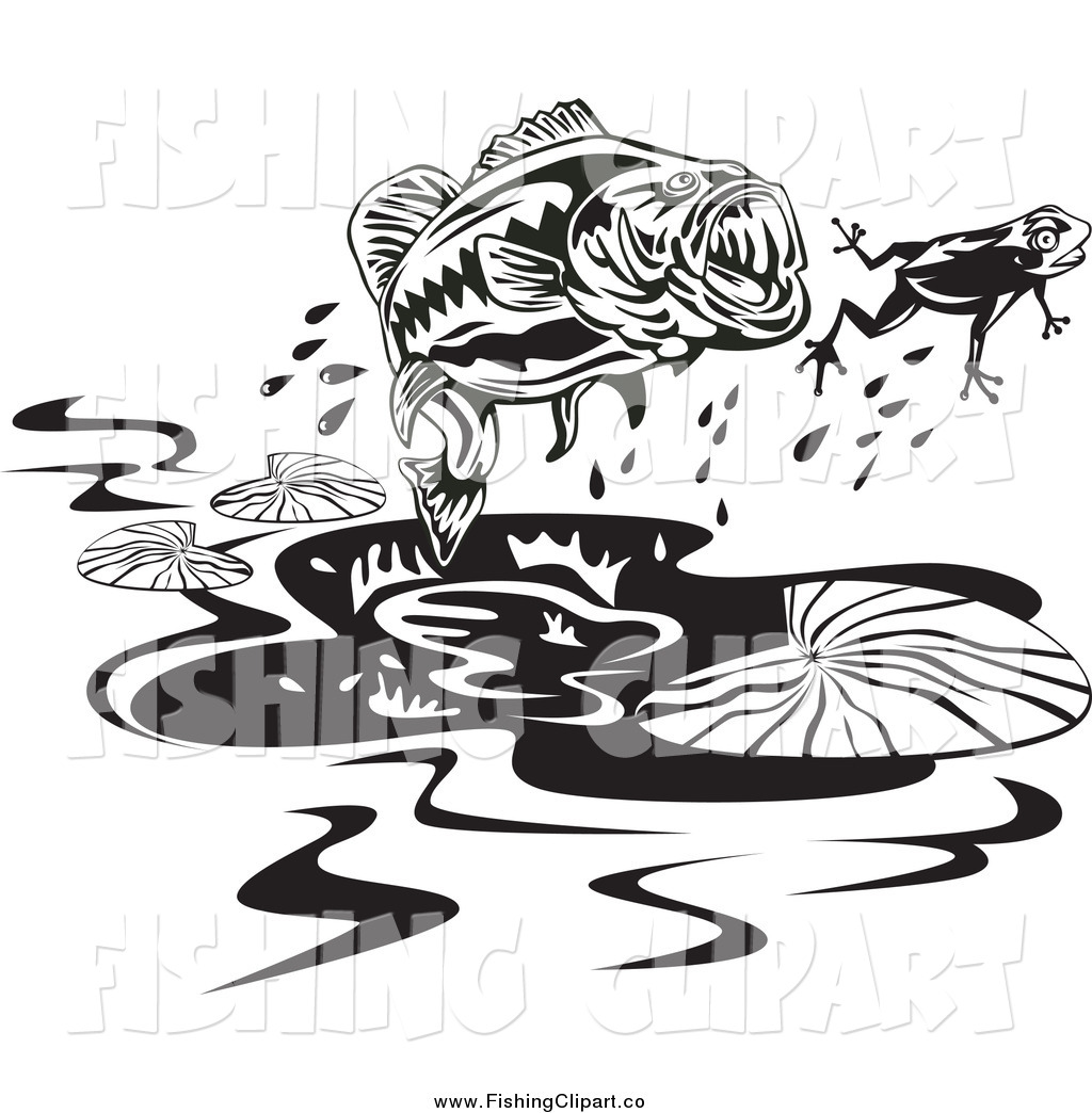 Free large mouth bass chasing a lure clipart. Clip art of black