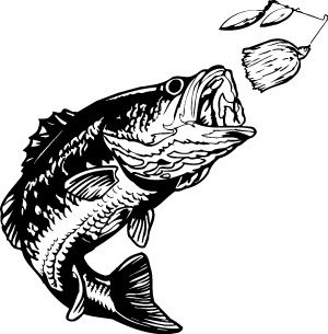 Fishing vector magz download. Free large mouth bass chasing a lure clipart