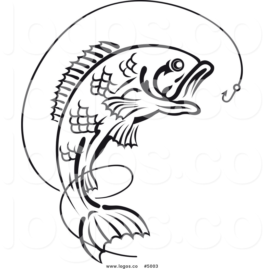 Free large mouth bass chasing a lure clipart. Royalty vector of black