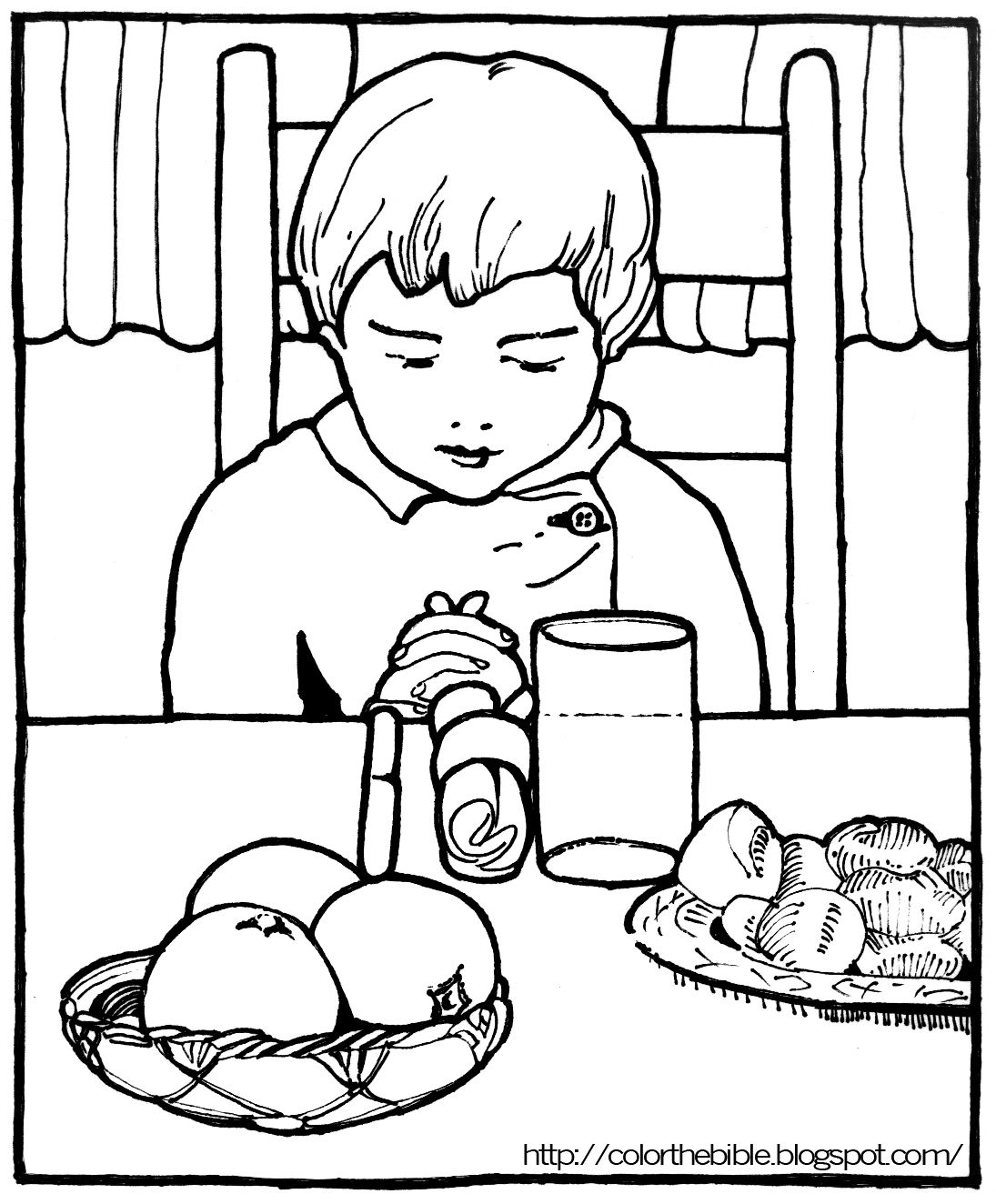 Free lds clipart children praying before meal vector black and white stock Image result for lds prayer before meals coloring pages | Bible ... vector black and white stock