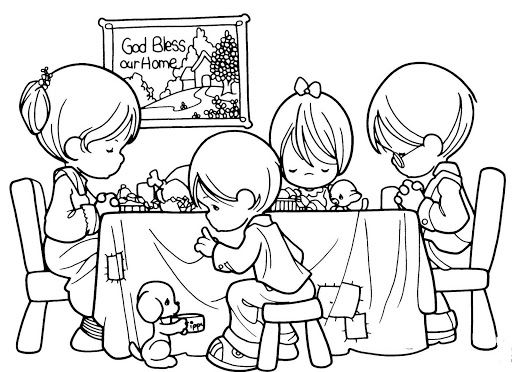 Free lds clipart children praying before meal png download Family praying before eating, coloring pages | Precious Moments ... png download