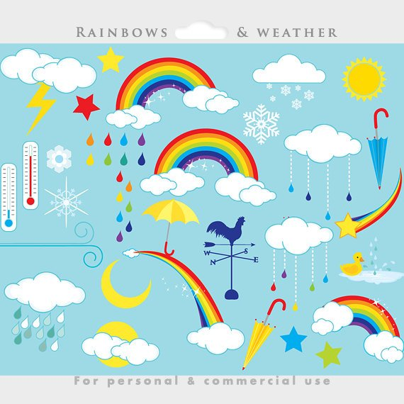Free lightning clipart to use for commercial use. Rainbows weather clip art