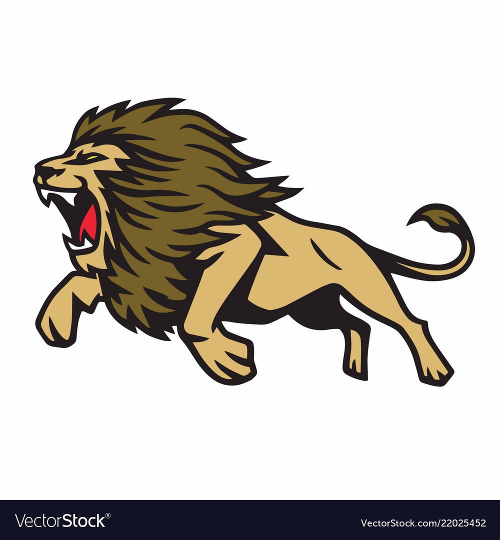 Free lion mascot clipart clip art royalty free Lion jump cartoon logo mascot design clip art royalty free