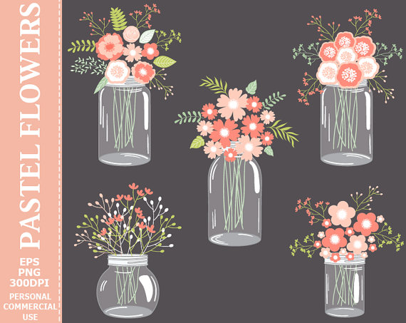 Buy get digital pastel. Free mason jar wedding clipart