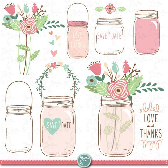Hand draw clip art. Free mason jar wedding clipart