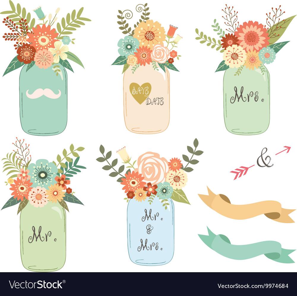 Free mason jar wedding clipart. Flower collections