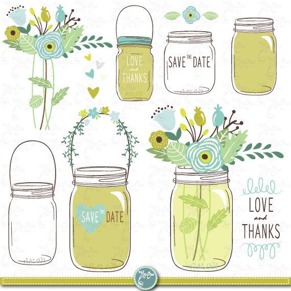 Free mason jar wedding clipart. Hand draw jars clip