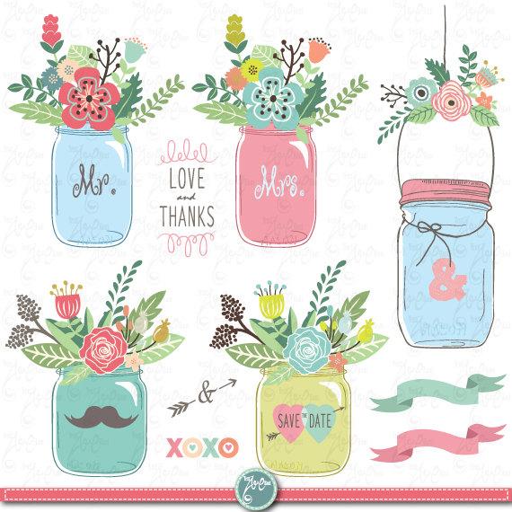 Free mason jar wedding clipart. Hand draw clip art