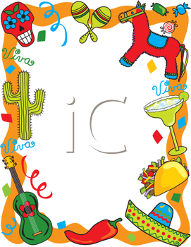 Mexican fiesta clipart free black and white clipart freeuse download Royalty Free Clipart Image of a Mexican Themed Border - Cinco de ... clipart freeuse download