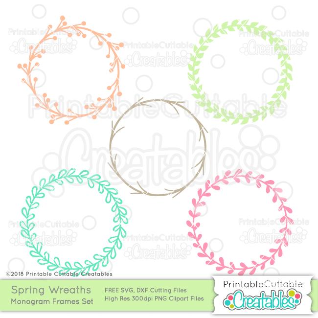 Spring wreath frame svg. Free monogram clipart
