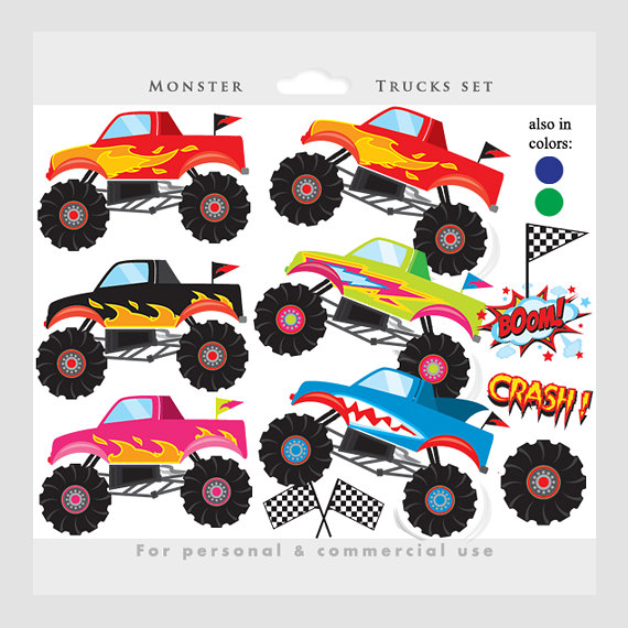 Free monster truck clipart images clipart freeuse download Monster trucks clipart - trucks clip art, pink, blue, fire, red ... clipart freeuse download