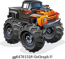 Monster truck pictures clipart clip black and white Monster Truck Clip Art - Royalty Free - GoGraph clip black and white