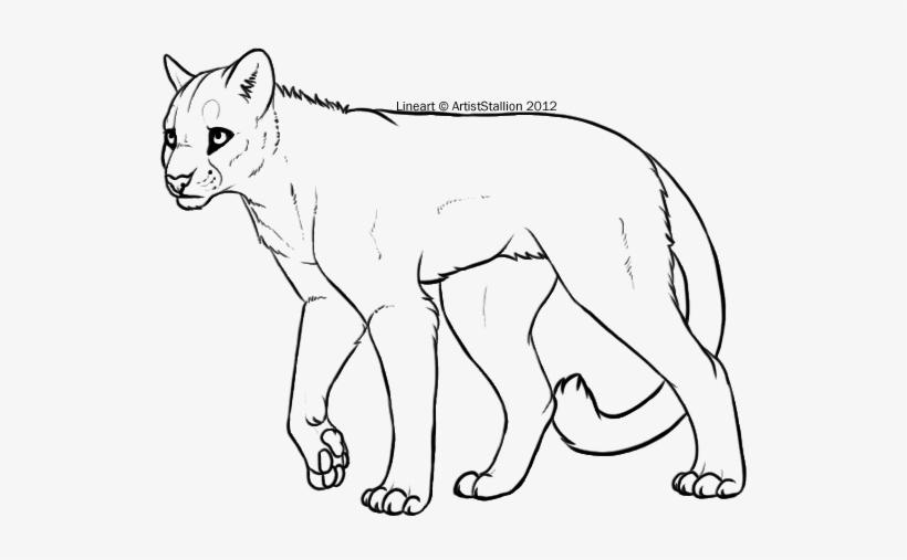 Mountain lion clipart black and white freeuse stock Cougar Clipart Mountain Lion - Mountain Lion Line Art Transparent ... freeuse stock