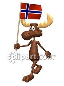 Free norwegian clipart. Cartoon moose with flag
