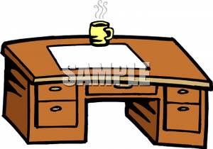 Free office desk clipart. A wooden with cup