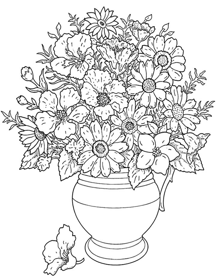 Free online flowers pictures clip art black and white library Free Online Coloring Pages Flowers - Aquadiso.com clip art black and white library
