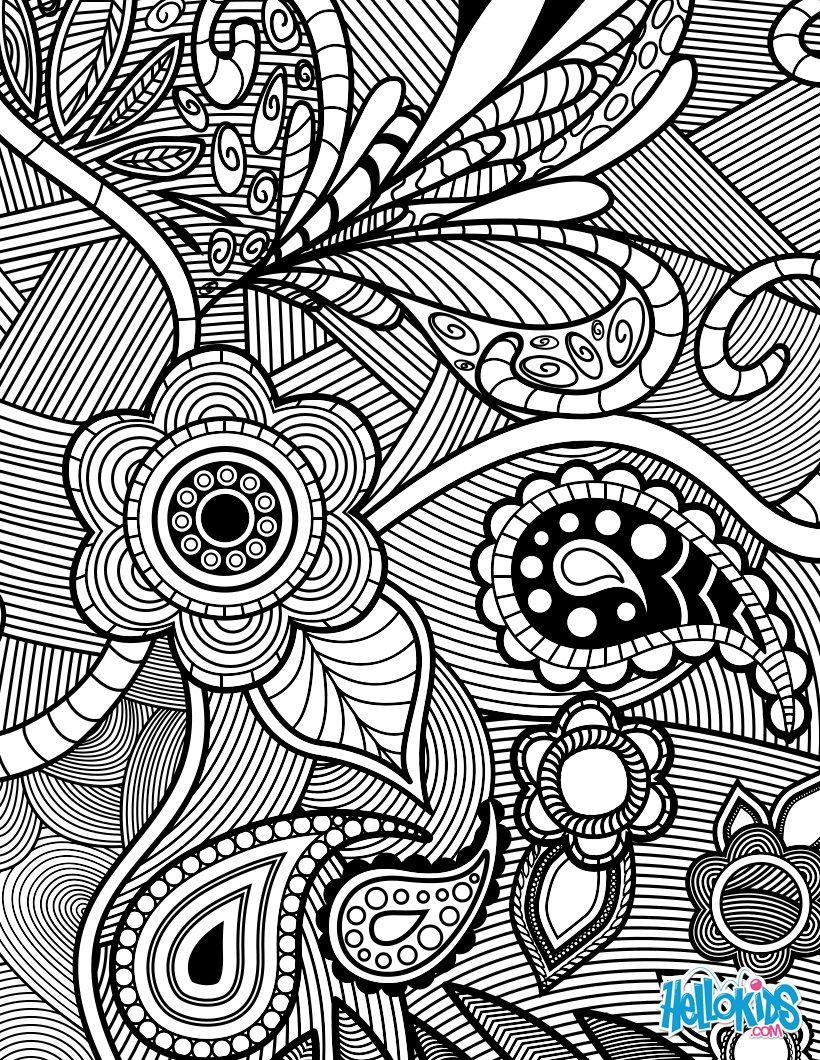 Free online pictures of flowers vector freeuse library Flowers & paisley design coloring pages - Hellokids.com vector freeuse library