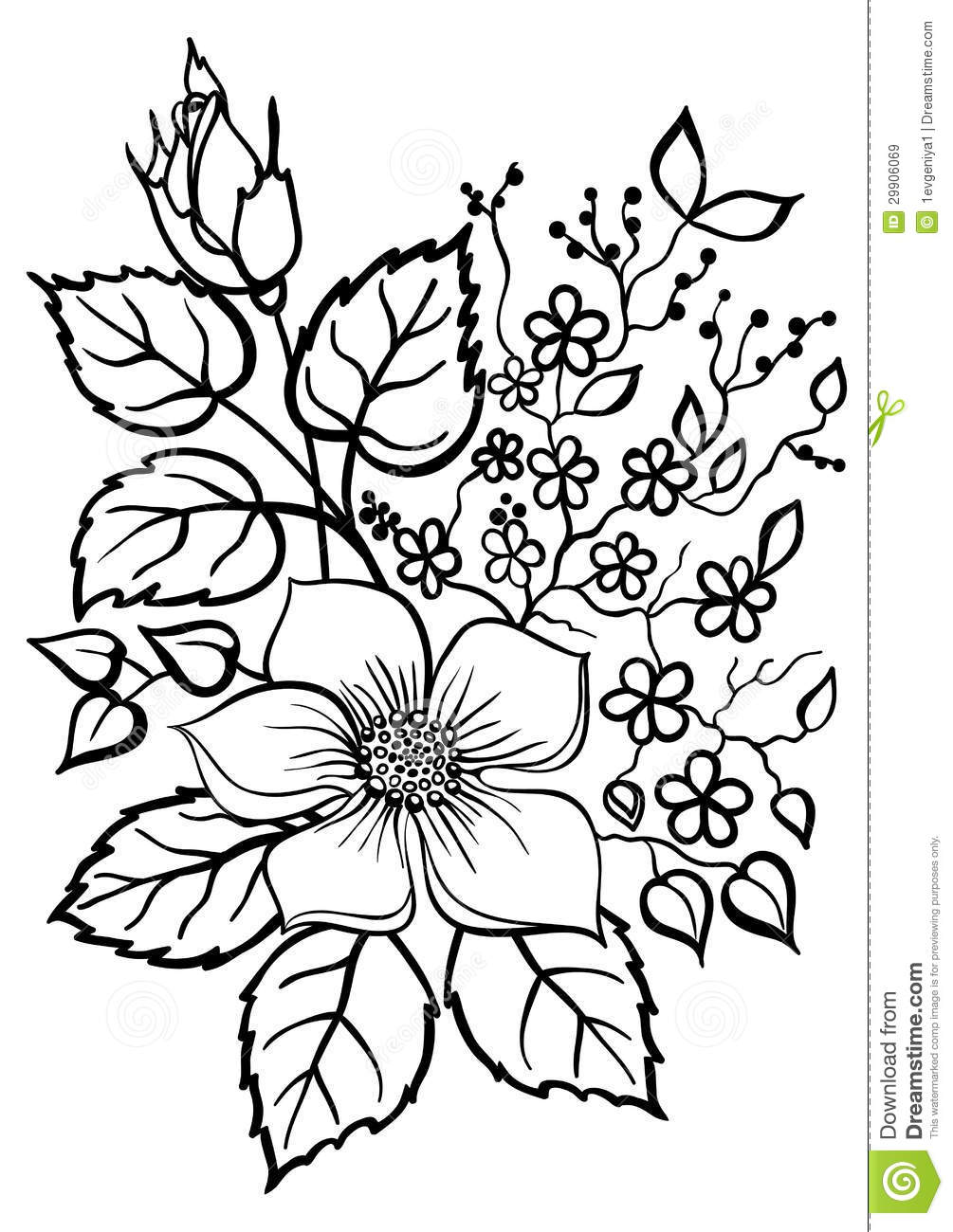 Free outline pictures of flowers clip free stock Beautiful Flower Arrangement, A Black Outline On A White Royalty ... clip free stock