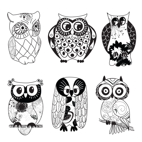 Free owl clipart black and white picture Owl Printable Clipart – Black and White | ADULT COLORING PAGES ... picture