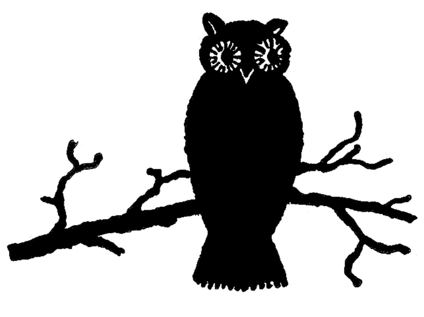 Cuteowl clipart black and white on a branch png black and white stock Free Owl Silhouette Cliparts, Download Free Clip Art, Free Clip Art ... png black and white stock