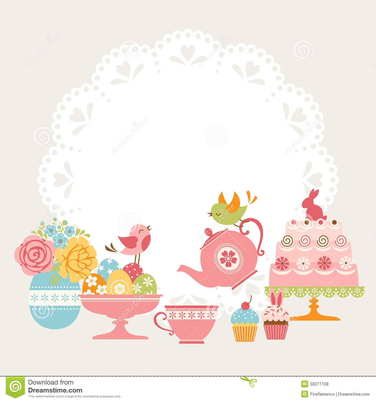 Free party invitation clipart jpg free tea borders free clip art | Cute Easter tea party invitation with ... jpg free
