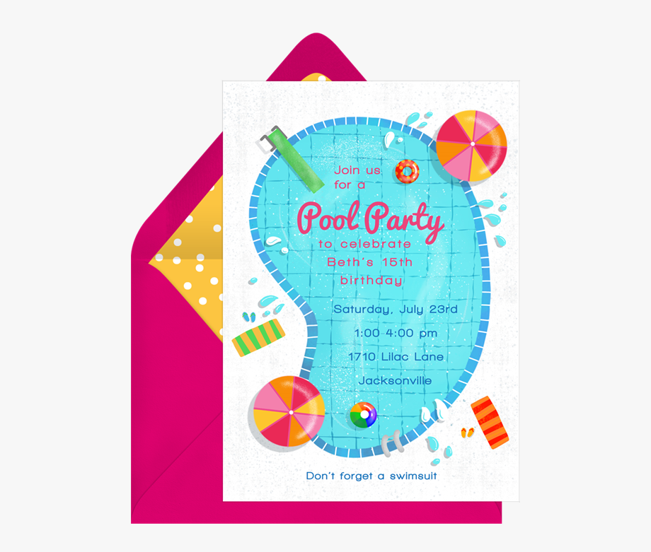 Free party invitation clipart jpg black and white Pool Party Invitation Png - Gold And Marble Invitation #1880089 ... jpg black and white