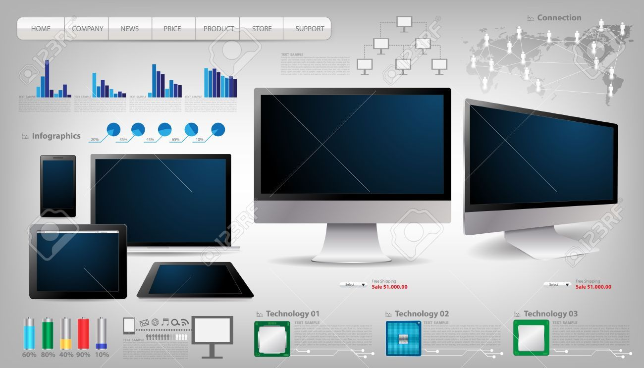 Stock vector monitor . Free phone tablet computer laptop technology clipart