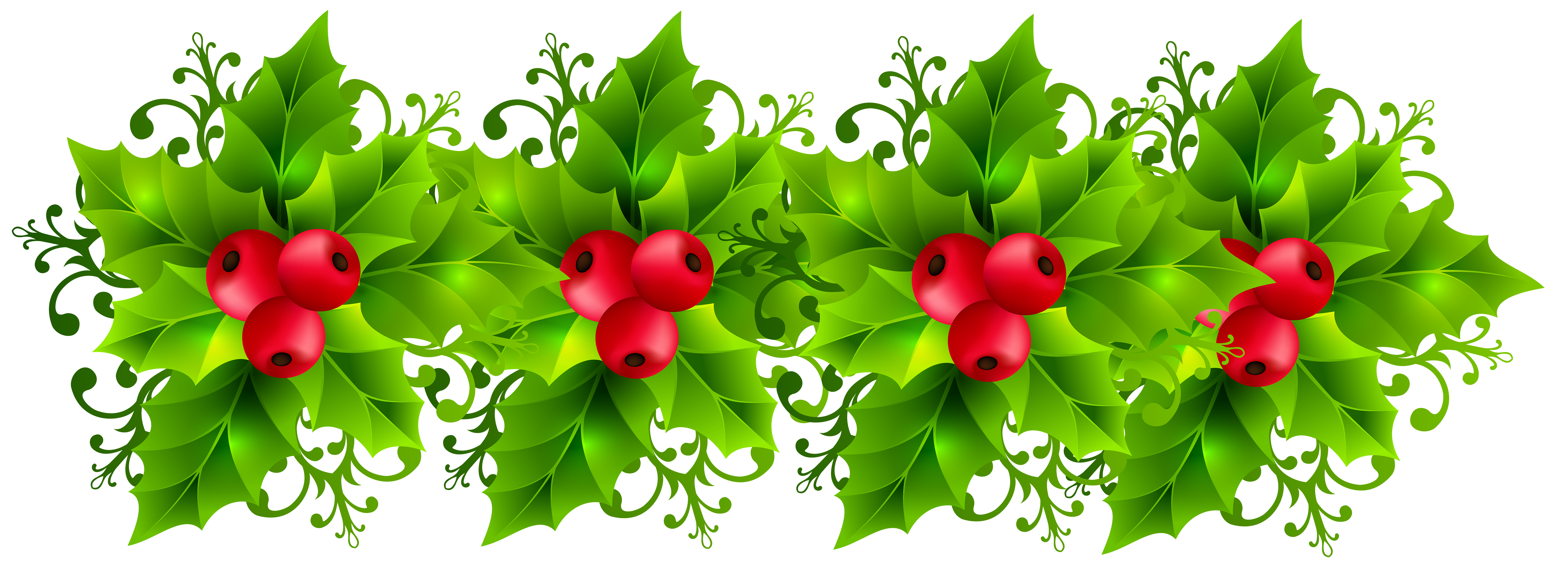 Free clipart christmas garland banner freeuse library Christmas Holly Garland Transparent PNG Clip Art Image | Gallery ... banner freeuse library