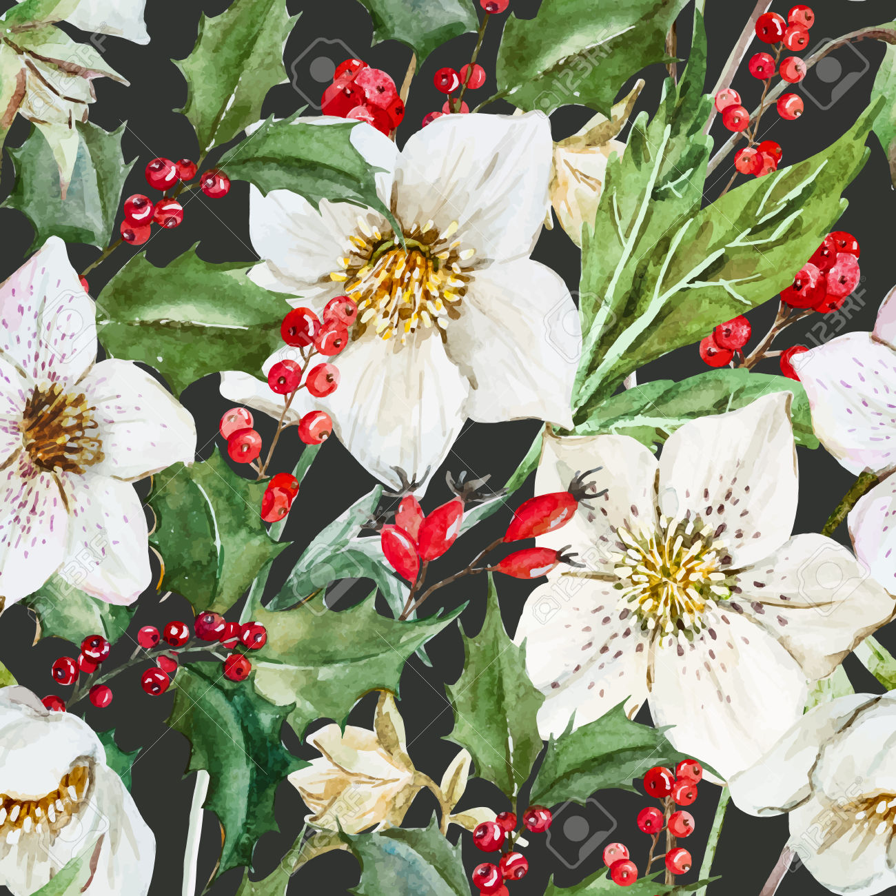 Free pictures of christmas flowers png transparent library Beautiful Pattern With Nice Watercolor Christmas Flowers Royalty ... png transparent library