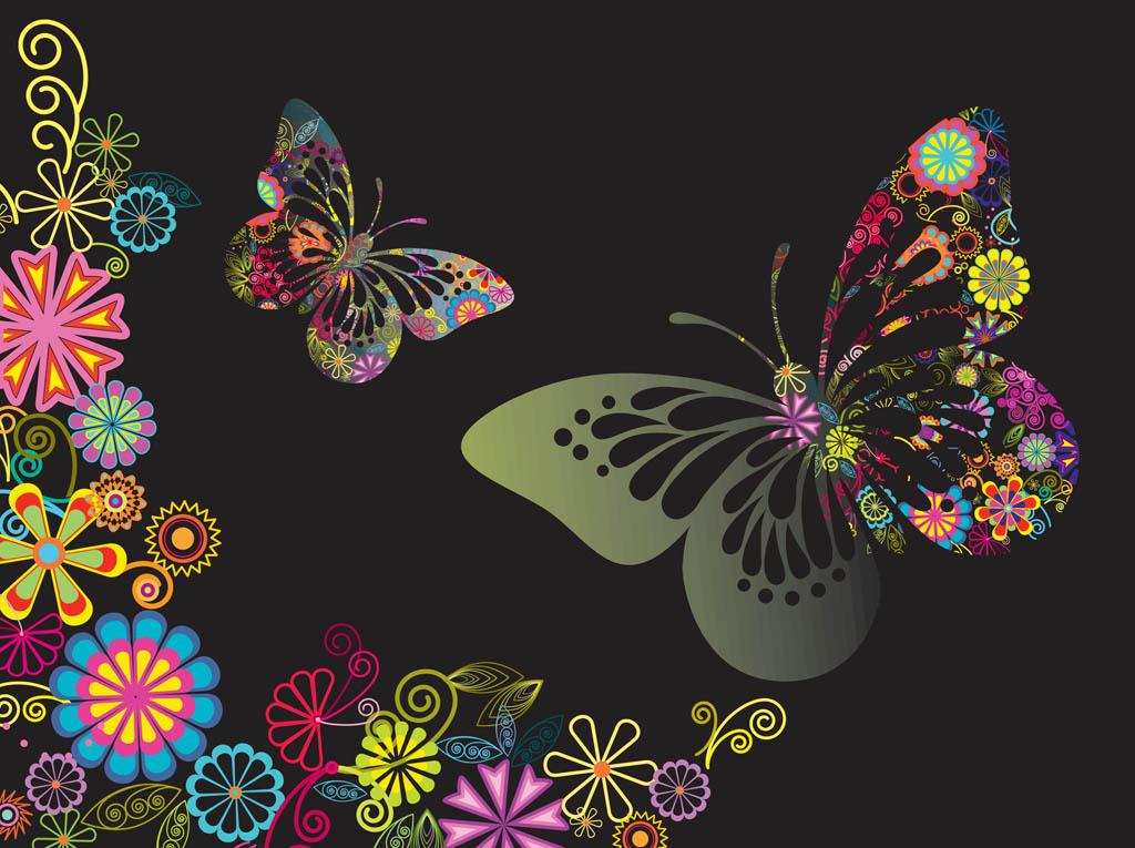 Free pictures of colorful flowers clip free stock Colorful Flowers And Butterflies   free vectors   UI Download clip free stock