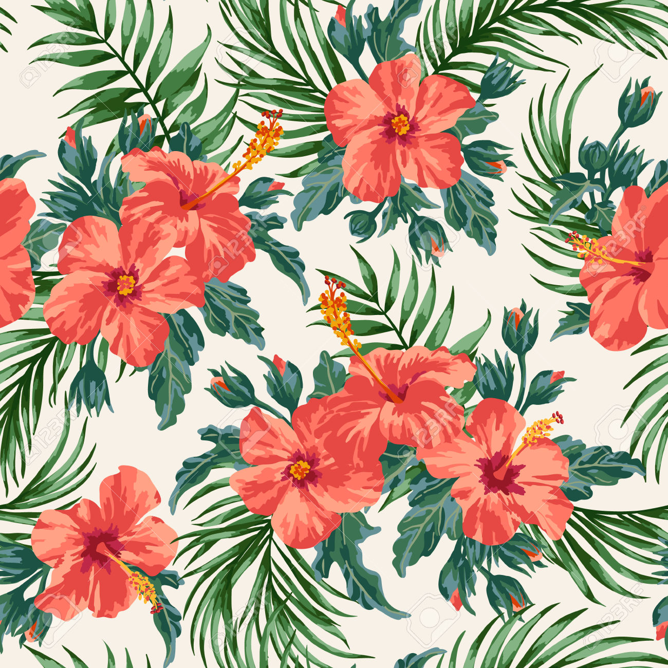 Free pictures of exotic flowers picture freeuse download Seamless Exotic Pattern With Tropical Leaves And Flowers On A ... picture freeuse download