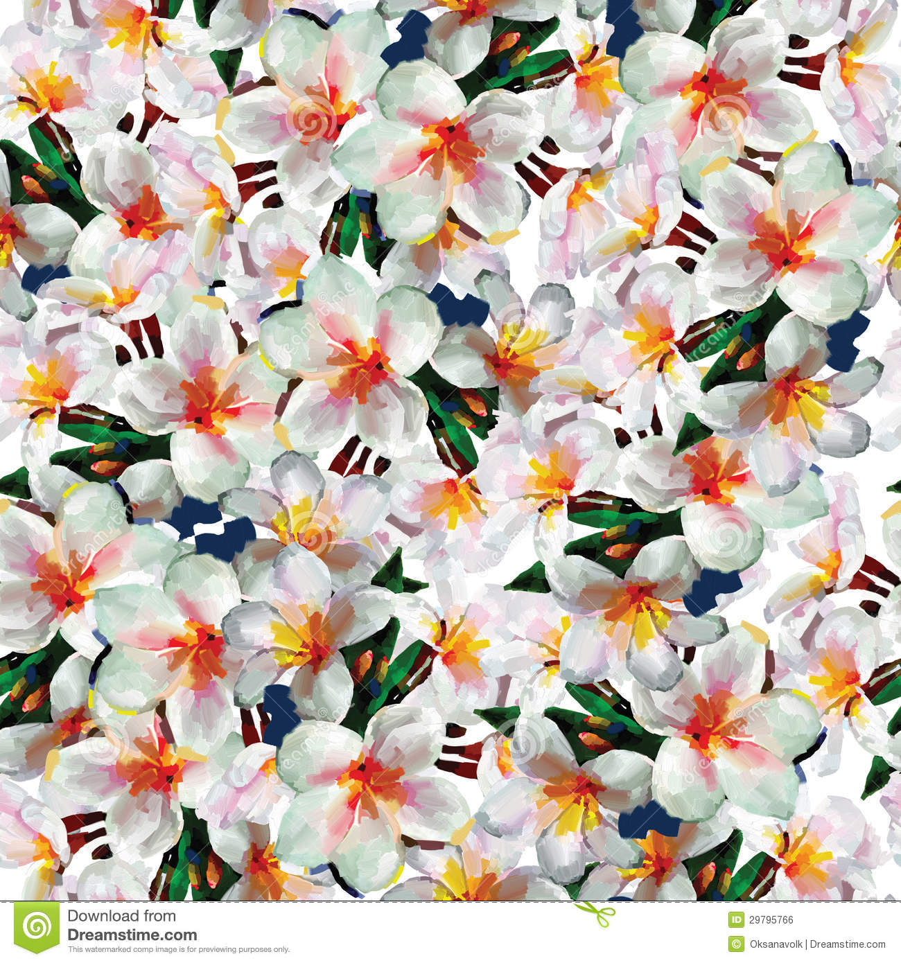 Free pictures of exotic flowers banner transparent download White Exotic Flowers Seamless Pattern Background Royalty Free ... banner transparent download
