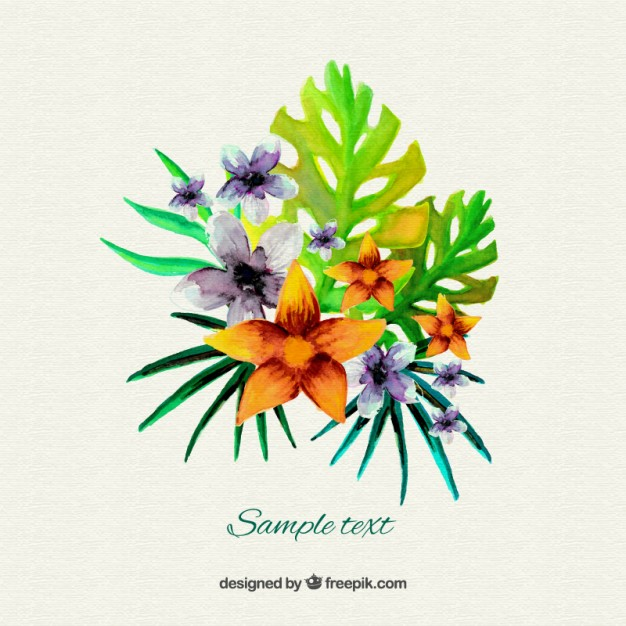 Free pictures of exotic flowers graphic download Watercolor tropical flowers Vector | Free Download graphic download