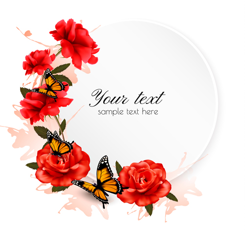 Free pictures of red flowers banner Beautiful red flowers and butterflies vector background - Vector ... banner