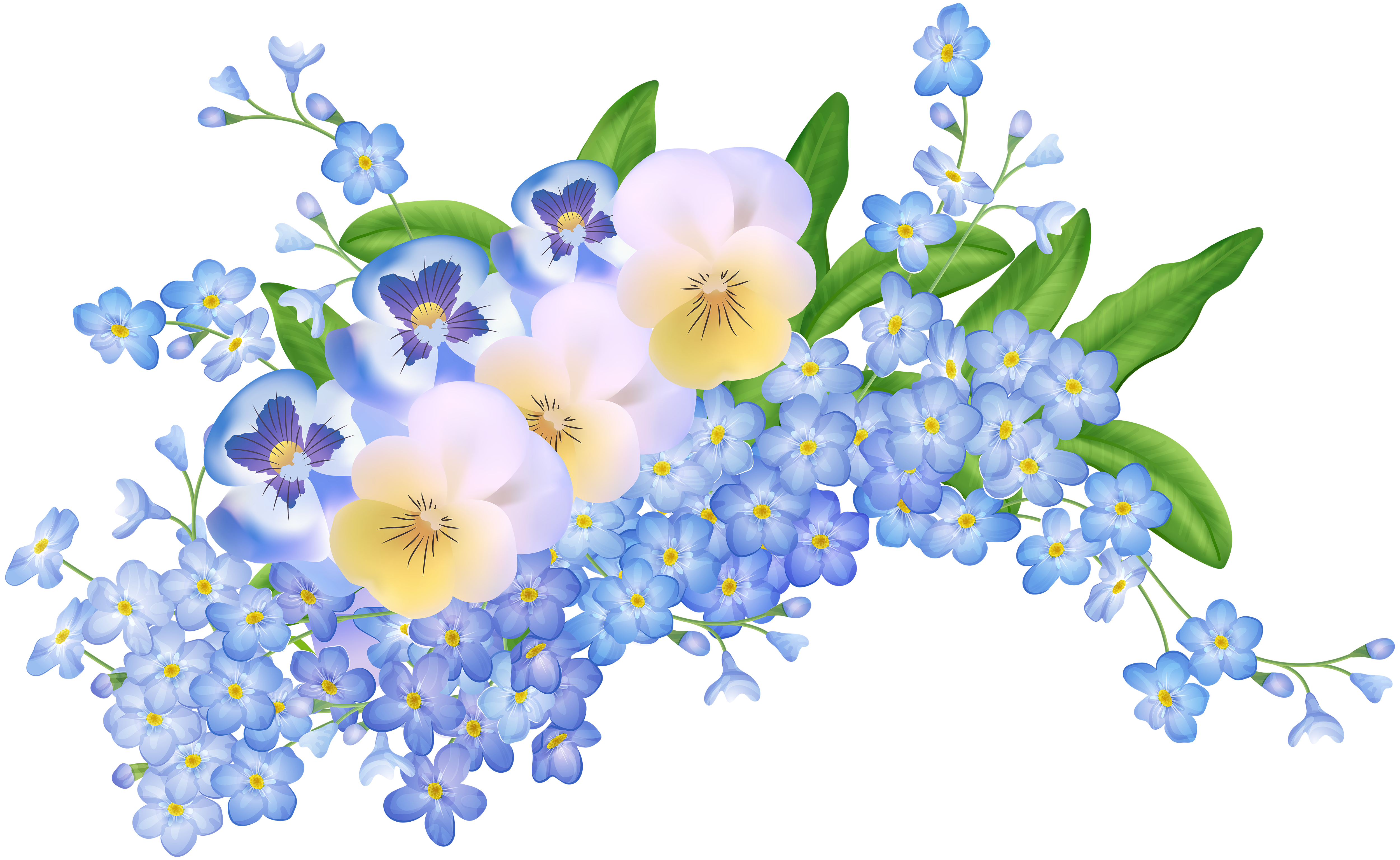 Free pictures of spring flowers vector black and white Spring Flowers Decoration Transparent PNG Clip Art Image | Gallery ... vector black and white