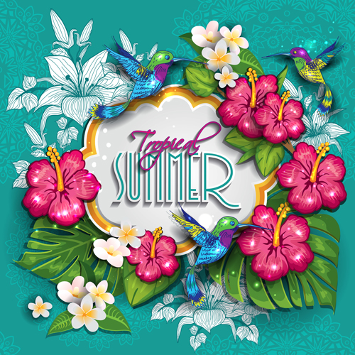 Free pictures of tropical flowers banner free stock Tropical summer flower frame background vector 01 - Vector ... banner free stock