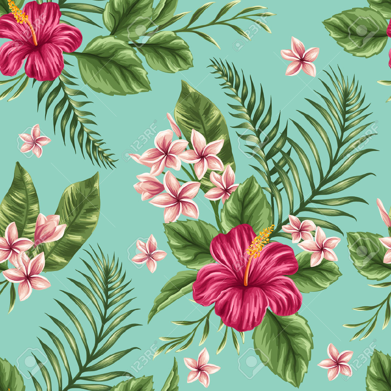 Free pictures of tropical flowers jpg free Tropical Floral Seamless Pattern With Plumeria And Hibiscus ... jpg free