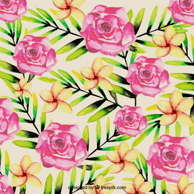 Free pictures of tropical flowers jpg black and white download Watercolor tropical flowers background Vector | Free Download jpg black and white download