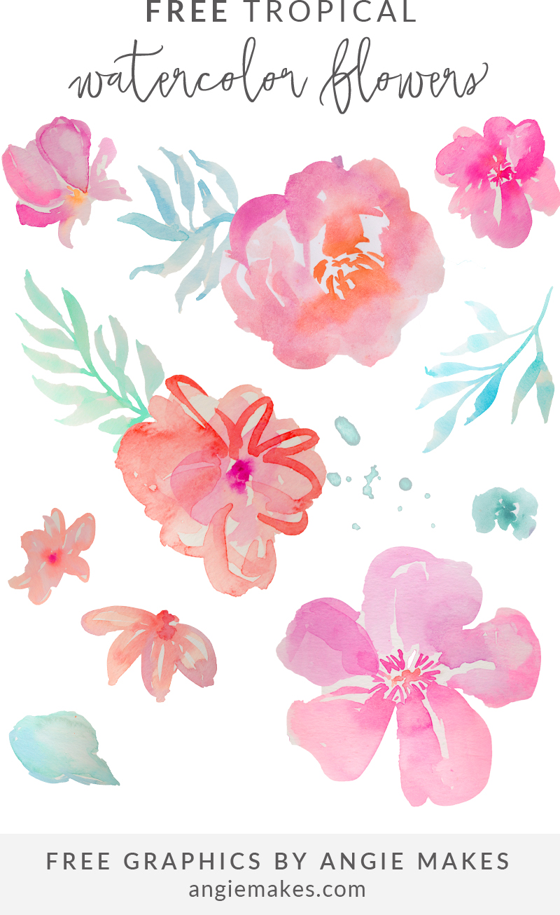 Free pictures of tropical flowers jpg stock Free Tropical Watercolor Flower Clip Art by Angie Makes jpg stock