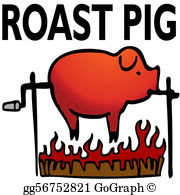 Free pig roast pictures clipart black and white stock Pig Roast Clip Art - Royalty Free - GoGraph black and white stock
